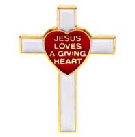 Giving Heart Appreciation Cross Pin