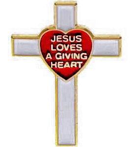 Giving Heart Appreciation Cross Pin