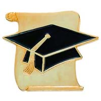 SCROLL & CAP Graduation Enamueled Lapel Pin
