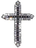 Rhinestone Black & Clear Cross Brooch Pin