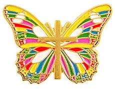 Butterfly and Cross Multicolor Christian Pin