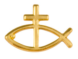 Gold Christian Fish with Cross Pin