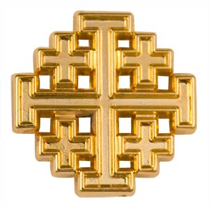 Jerusalem Cross Pin Gold Plated - Quality