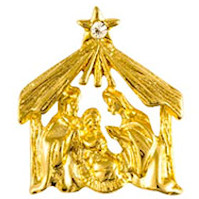 Christmas Manger Nativity Pin Gold