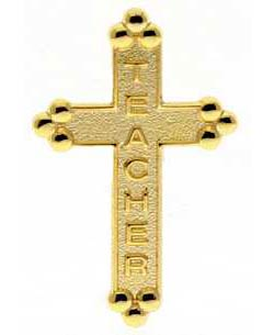 Christian Teacher Gold Cross Pins