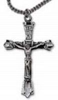 Pewter Crucifix Necklace Hand Finished