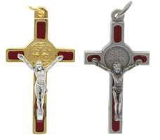 Red Crucifix Necklace St. Benedict Gold