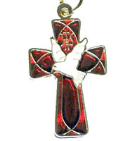 Dove on Flared Cross Necklace
