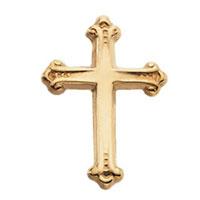 14kt Gold Budded Cross Lapel Pin