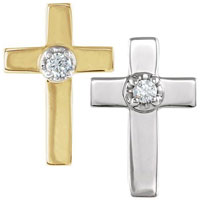 14 Karat Gold Cross with Diamond Pin