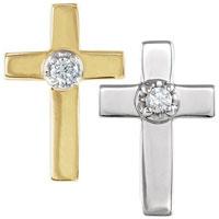 14 Karat Gold Cross with Diamond Pin