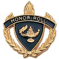 Honor Roll Pin With Wreath Gold