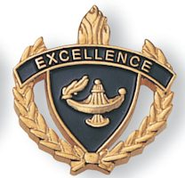 Excellence Academic Pin With Wreath Gold