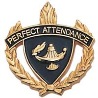 Perfect Attendance W Wreath Pin