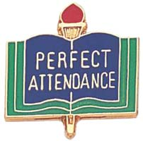 School Perfect Attendance Pin Blue Gold