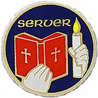Altar Server Lapel Pin Gold Blue