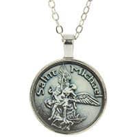 St. Michael Pendant  Necklace Round