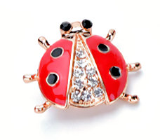 LadyBug Brooch Gold Red Enameled Rhinestone