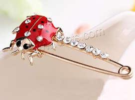 LadyBug Gold Red Enameled Rhinestone Pin