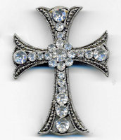 Traditional Silver Rhinestone Cross Brooch