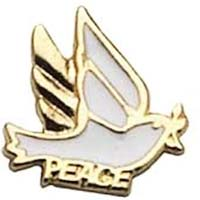 Peace Dove Pin White Gold