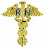 Nursing RN Caduceus Medical Lapel Pin Gold