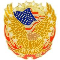 Gold Eagle Flag & Flames Hat Pin