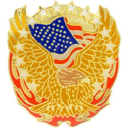 Eagle, US Flag & Flames Patriotic Pin