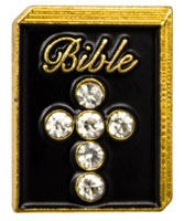 Bible Pin with Rhinestone Crystal Cross