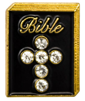 Bible Pin with Rhinestone Crystals