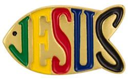 Jesus Fish Multicolored Pin