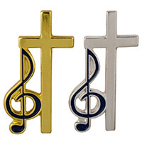 Cross and Music Clef Pin Gold or Silver