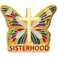 Sisterhood Butterfly Pin With Cross