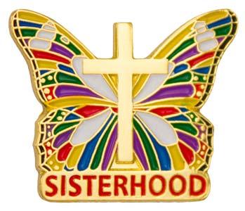 Sisterhood Butterfly Pin With Cross