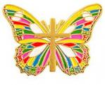 Multicolor Butterfly & Cross Pin