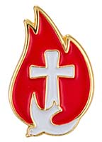 Cross, Flame, Dove Confirmation Pin