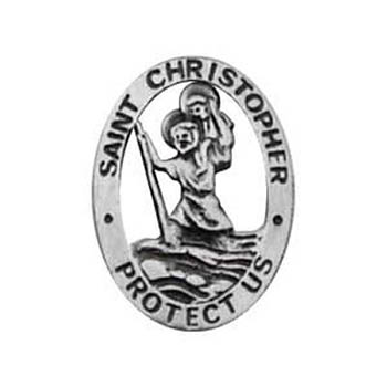 St. Christopher Pin Protect Me Pewter