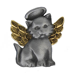 Cat Angel Pin With Halo Pewter