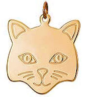 Cat Head Gold Pendant