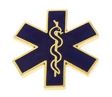 Emergency Medical Pin Gold Blue