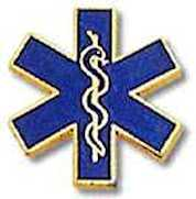 Emergency Medical Pin Gold Blue