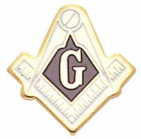 Masons Lapel Pin Gold & White