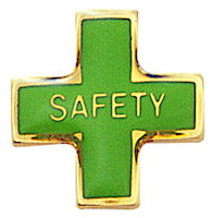 Safety Cross Lapel Pin Green, Gold Plated