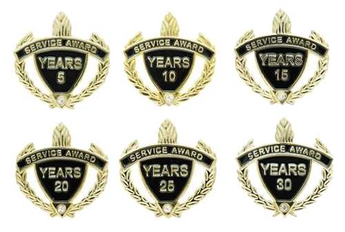 5, 10, 15, 25 Years of Service Award Pins Gold