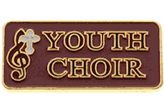 Youth Choir Pin, Cross Red Gold