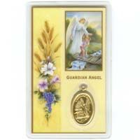 Guardian Angel Prayer Card W/ Medal Laminated