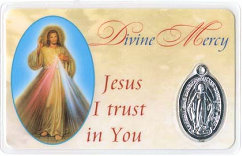 Divine Mercy Trust in You Holy Card With Medal