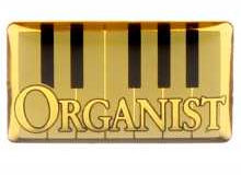 organist gold lapel pin