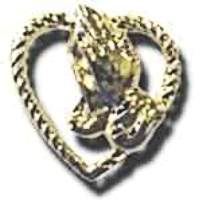 Praying Hands in Heart Pin Gold