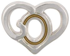 God In Heart Lapel Pin - Silver